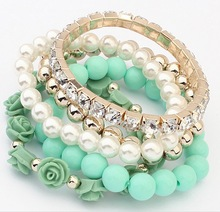 Fashion Jewelry 2014 Trendy Fashion Candy Color Pearl Rose Flower Multilayer Charm Bracelet & Bangle For Women,free shipping(China (Mainland))