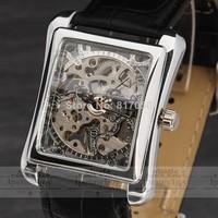 new 2014 fashion winner top brand luxury rectangle leather strap mechanical hand wind classic retro wrist watch 8162