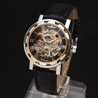 2014 new fashion rose gold skeleton classic flower face leather strap hand wind mechanical wrist watch