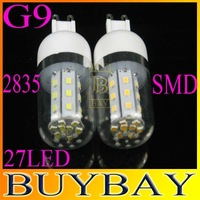 10pcs/lot 27LED SMD2835 G9 LED corn bulb lamp,9W 2835 SMD G9 LED lighting,AC 220V Warm white/ white,free shipping