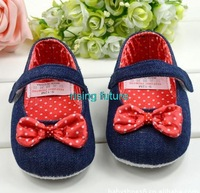 S111 New Arrival Very Cute Dark Blue Cowboy Vamp Flowers Baby Shoes For Girls Free Shipping