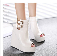 Ladies Sexy High Heels Wedges Platform Fish Mouth Women Pumps Wedge Shoes With Buckle Zip Dropshipping QM3358-3NF