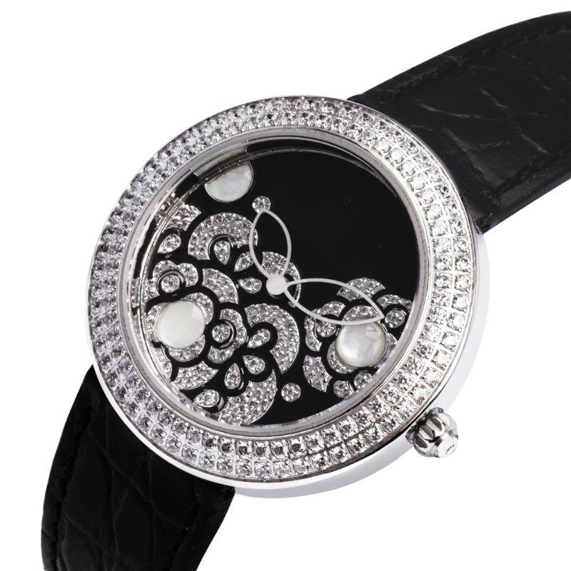 Deluxe frauen armbanduhr kubischen zirkon Einstellung Edelstahl-Gehäuse saphirglas original 1:1 ionischen Platin beschichtet schwarz ton