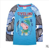 2014 new autunm pig tshirt boy tshirt kids cotton long sleeve fashion cartoon tshirt boy wear 5pcs/lot