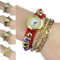 Fantastic ! New Arrival 1PC Leather Bracelet Woman Rhinestone Bracelet Quartz WristWatch Watch Free Shipping&Wholesale Feida