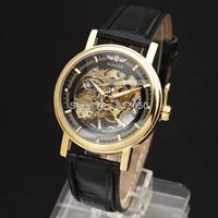 2014 winner fashion hollow leather design new casual famous men women mechanical hand wind mechanical wrist watch 8295
