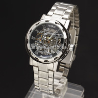winner hot sale 2014 full steel stainless strap skeleton wristwatches fashion classic mechanical hand wind wrist watch