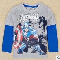 2014 autunm the Avengers boy tshirt kids cotton stripe  long sleeve cartoon tshirt boy clothes