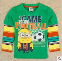 2014 autunm yellow man boy tshirt kids cotton stripe  long sleeve cartoon tshirt boy clothes