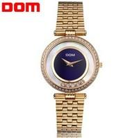 DOM Business casual rhinestones slim noble full fine steel ladies luxury watches