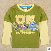 2014 autunm monster university boy tshirt kids cotton stripe  long sleeve cartoon tshirt boy clothes