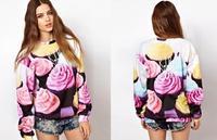 Top sale women hoodies 2014 New Fashion harajuku animal Galaxy sweatshirt 3D Cake pullovers PLUS SIZE