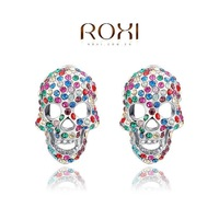 ROXI Gift Classic Genuine Austrian Crystals Fashion Red/ Green skull Stud Earrings Hot Sale For Party