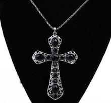 Gothic jewelry black cameo cross pendant long necklaces female hot 2015 colar vintage necklaces collar largo