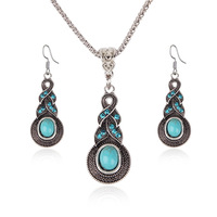 Fashion Turquoise Necklaces Earring Jewelry Sets Vintage Jewelry Silver with Rhinestone Earrings Necklace Set Jewelry for Women