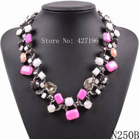Fashion Brand 2014 New Arrival Party High Quality Multicolor Resin Rhinestone Pendants Necklaces Europe Market