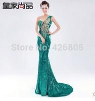 One shoulder tail fish paillette lace evening dress bridal evening dress long fish tail design slim costume