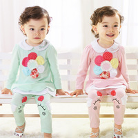2014 autumn 0 - 3 years old infant clothes baby girls clothes small children's clothing sets