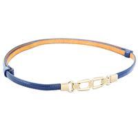 Gold Tone Metal Hook Buckle Skinny Belt for Woman - Sky Blue
