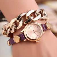 2014 Korean Fashion 2 Layers PU Leather Alloy Bracelet Quartz Watch For Men Women Student Casual Watches 7 Colors