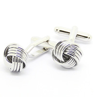 Four Thin Knot Silver Cufflinks
