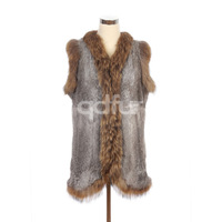 Autumn Lady Genuine Natural Rabbit Fur Vest Waistcoat Raccoon Fur Collar and Hem Winter Women Fur Outerwear Coats QD30414