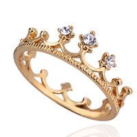 2014 New Fashion Classic 18K Gold Plated wholesale rhinestone studded crown finger ring  XY-R435