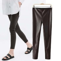 2014 New arrivals Ladies' elegant sexy faux leather Skinny pants cozy trousers casual slim winter trousers brand designer pants