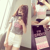 Women's all-match loose o-neck top 2014 summer young girl small fresh female short-sleeve t-shirt