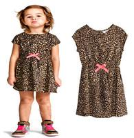 Hot Sale 2014 Summer Girls Dresses Pinched Waist Leopard Dress Korea Kids Children Dress