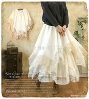 Mori Girl spring and summer lace irregular skirt bust skirt laciness cotton skirt japanese forest mori girl skirt vestido longa