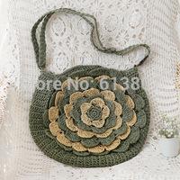 Free shipping the new fashion big flower peony straw worn woven bag beach leisure female bag