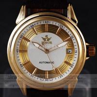2014 new fashion white retro SWOR men clock classic calendar leather band mechanical self-wind wrist watch 2749