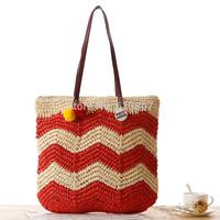 Free shipping pepper potts latest beautiful striped wool ball ball straw beach bag shoulder bags