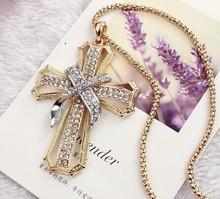 Fashion jewellery gothic jewelry cross pendant long necklace women/crussifixo/colar cruz/crucifixo/collar largo/collier chaine
