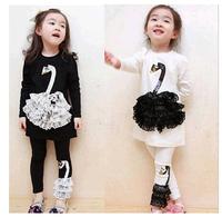 Children's Swan Suits Girls swan suit - girls swan long-sleeved dress + leggings baby Swan girls set