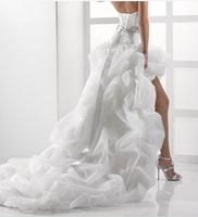 Modest High Low White Organza Wedding Dress Sweetheart Puff Ruffles Sashes Beaded Long Bridal Gowns 2014 Chapel Train