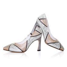 FINEED 2014 Primavera / Outono Mulheres High Heel Deslizamento tend?o no final apontou sapatos de pele de carneiro respirável conforto EUA Size4 -9 S5514(China (Mainland))