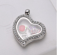 Hot sale!! clean crystal around beautiful heart 25mm 5pcs grass Silver floating locket charms fit pet collar&people .