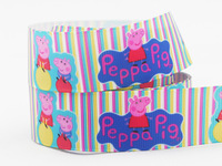 """2014 New 1"""" (25 mm) Pink Peppa Pig Party Decorations Ribbon Printed Grosgrain Ribbon For decoration 50yard/lot"""