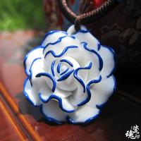 Handmade!!fashion necklace ceramic flower necklace style 2 women free shipping