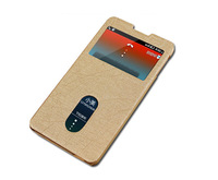 2014 New Hot Dual Windows Bamboo Texture Leather Case Flip Cover Shell Phone Cases for Lenovo Gold Fighter S8 S898T(3G)