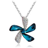 Austria crystal pendant flower crystal female pendant 95 pure silver jewelry