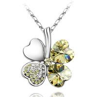 Lucky four leaf clover austria crystal  female short design accessories