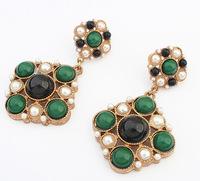 Retro Faux Stone Drop Earrings Statement Earrings Fashion Jewelry Wholesale cxt908949