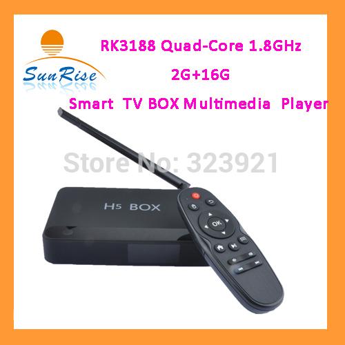 frete grátis rk3188 1,8 ghz dual band wi-fi quad core caixa de tv com bluetooth 4.0 h5 inteligente leitor multimédia(China (Mainland))