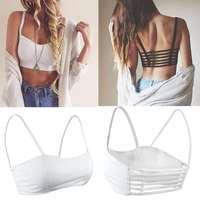 Women Sexy Padded Bra Crop Tops Blouse Vest Cut Out Shirt Summer Beach Tank Cami