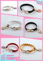 1pcs Mix Fashion Imitation leather Resin Jewelry Twisted Chain Charm flower Bracelets bangles for women Free Shipping