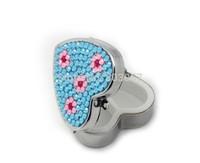 45 colors available Free shipping(10pcs/lot) Wholesale Fashion Heart rhinestone pill box cute pill case