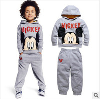 Gray mickey mouse sweatshirt for boys + leisure trousers autumn children's clothing sets boy's hoodies sports clothing suits